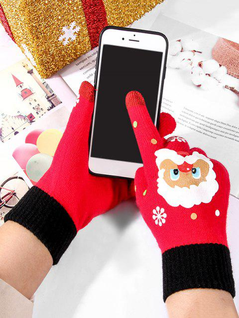 Christmas Santa Claus Knitted Touch Screen Gloves - RED