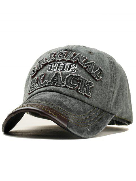 Letter Embroidery Washed Dyed Baseball Cap - BLACK