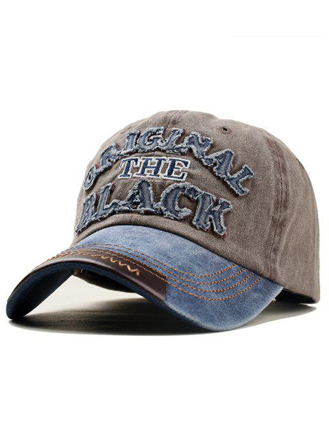 Letter Embroidery Washed Dyed Baseball Cap - COFFEE