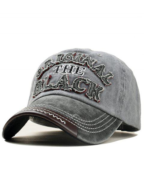 Letter Embroidery Washed Dyed Baseball Cap - LIGHT GRAY