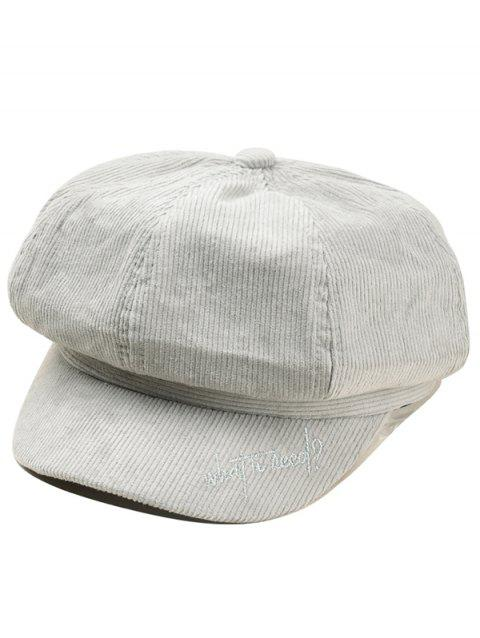 Letter Embroidery Corduroy Newsboy Cap - LIGHT GRAY