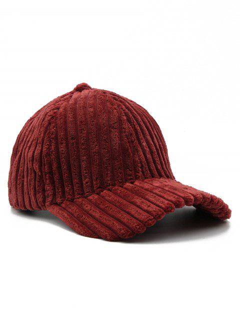 Thick Striped Adjustable Baseball Cap - FIREBRICK