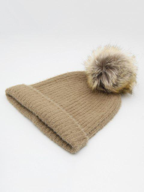 Stylish Flanging Knitted Pom Pom Beanie - TAN