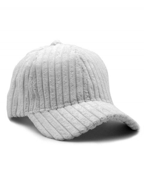 Thick Striped Adjustable Baseball Cap - WHITE