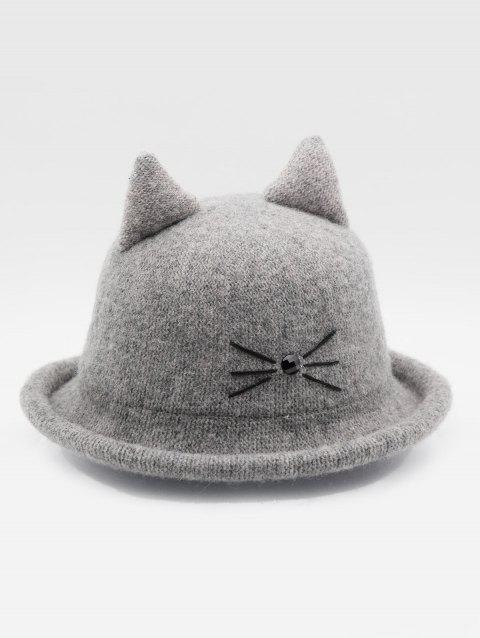 Stylish Cartoon Cat Woolen Hat - GRAY