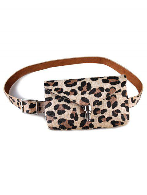 Leopard Fanny Pack Faux Leather Belt Bag - APRICOT