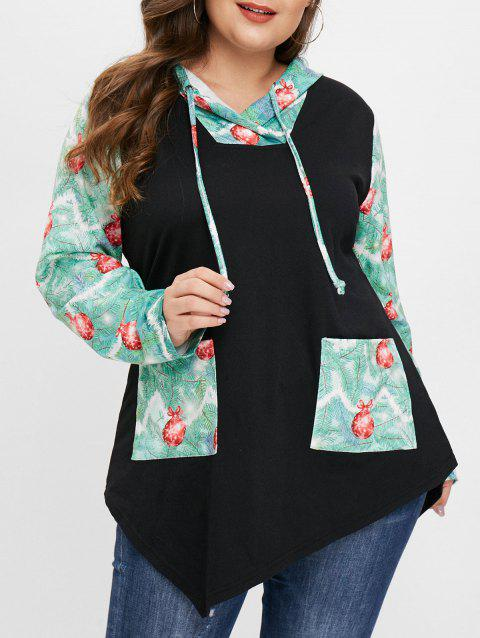 Jingle Bell Print Front Pockets Plus Size Hoodie - BLACK 2X