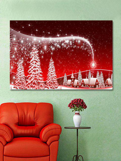 Christmas Night Trees Print Wall Art Sticker - multicolor W20 X L27.5 INCH