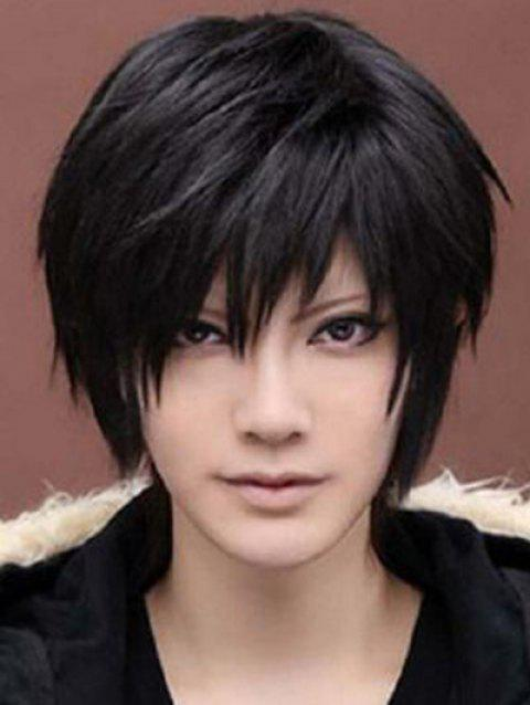 Short Cosplay Side Bang Straight Synthetic Wig - BLACK