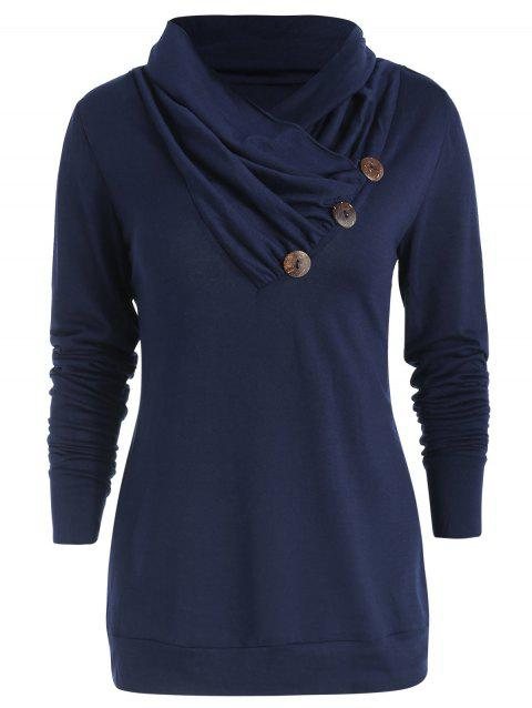 Cowl Neck Asymmetrical Button T Shirt - CADETBLUE XL