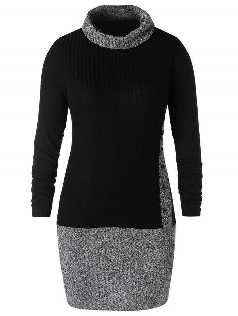 Plus Size Turtleneck Two Tone Bodycon Dress - BLACK 1X