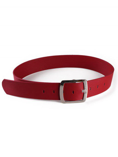 Metal Square Buckle Faux Leather Waist Belt - RED