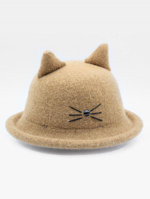 Stylish Cartoon Cat Woolen Hat - KHAKI