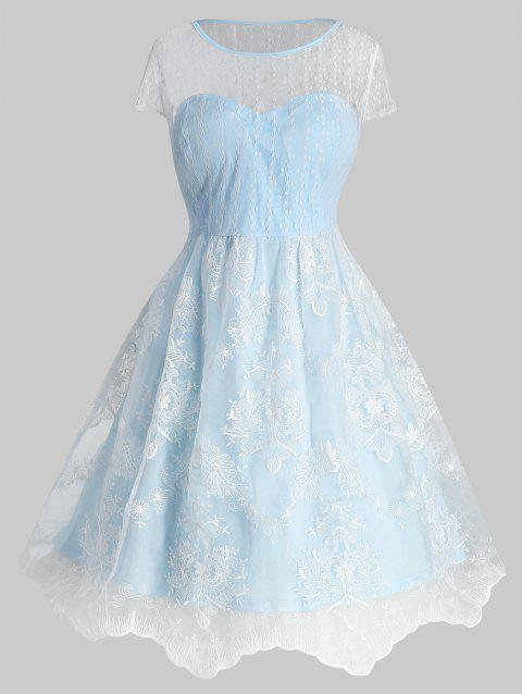 Plus Size Two Tone Vintage Lace Flare Dres - LIGHT BLUE L