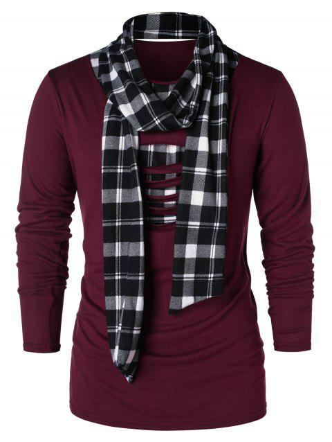Checked Print Destroyed Scarf Collar T-shirt - FIREBRICK 2XL