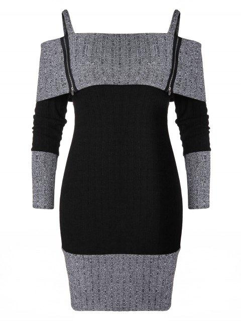 Plus Size Cami Zip Knitted Bodycon Dress - BLACK 2X