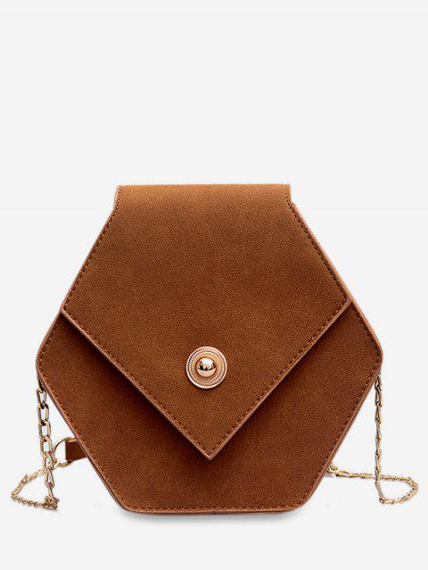 Link Chain Surb Design Crossbody Bag - BROWN
