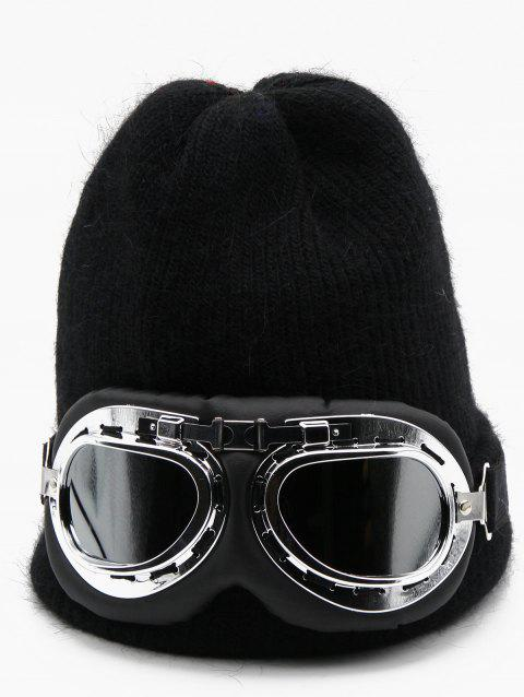Novelty Eye Mask Knitted Beanie - BLACK