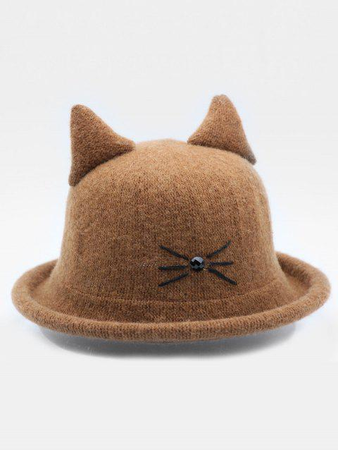 Stylish Cartoon Cat Woolen Hat - BROWN