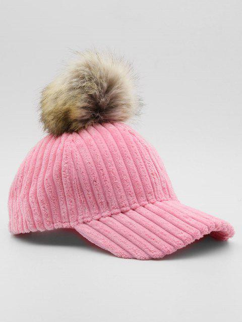 Winter Striped Pom Pom Baseball Cap - PINK