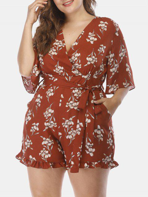 6e13840a35b 2019 Plus Size Floral Surplice Romper with Pockets In BROWN 5X ...