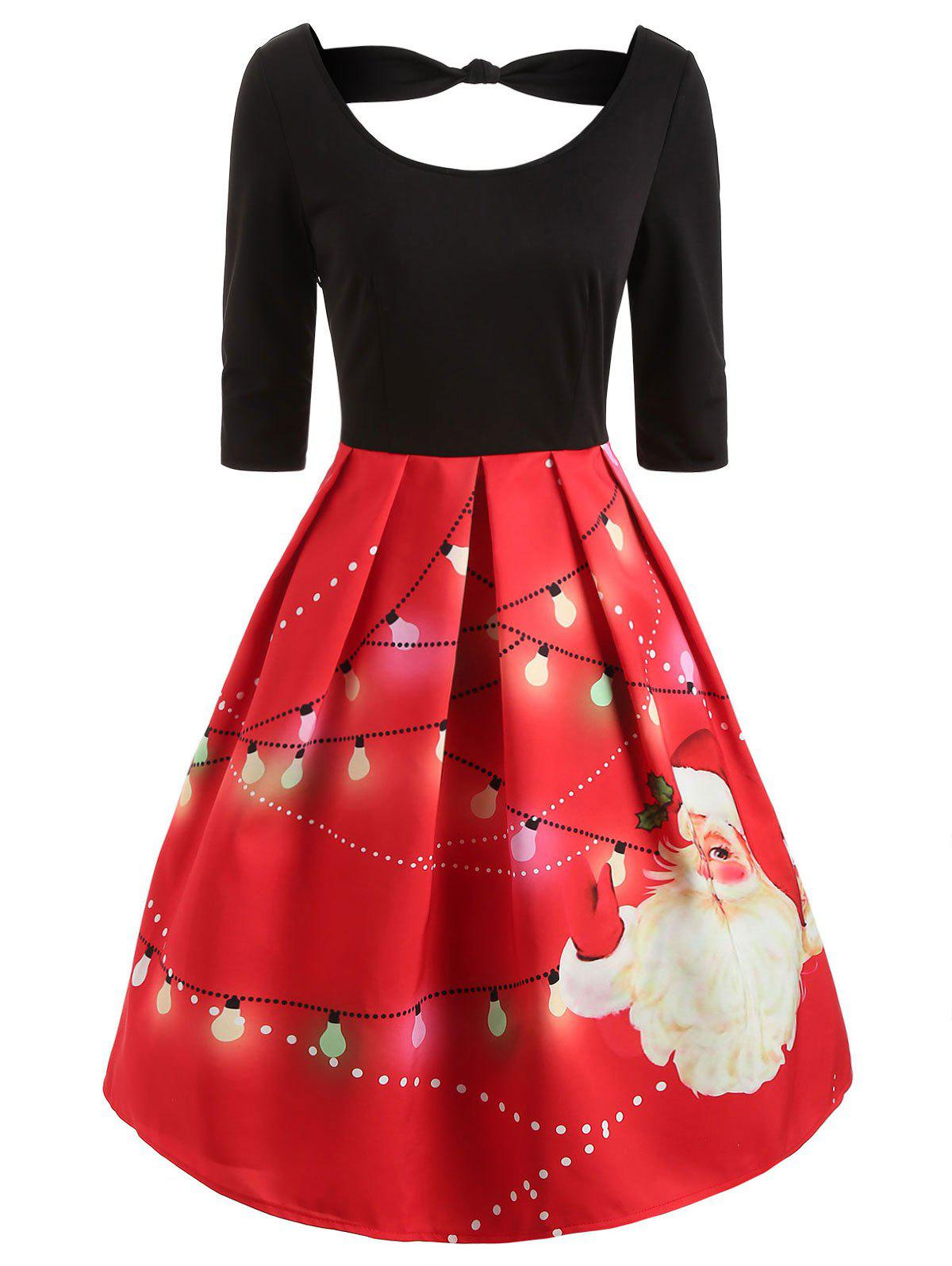 Knotted Christmas Santa Print Vintage Dress - RED S