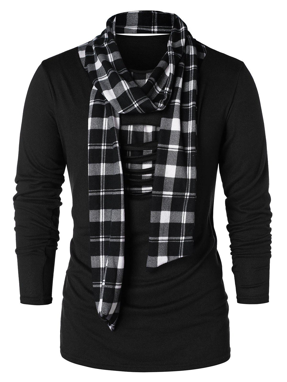 Checked Print Destroyed Scarf Collar T-shirt