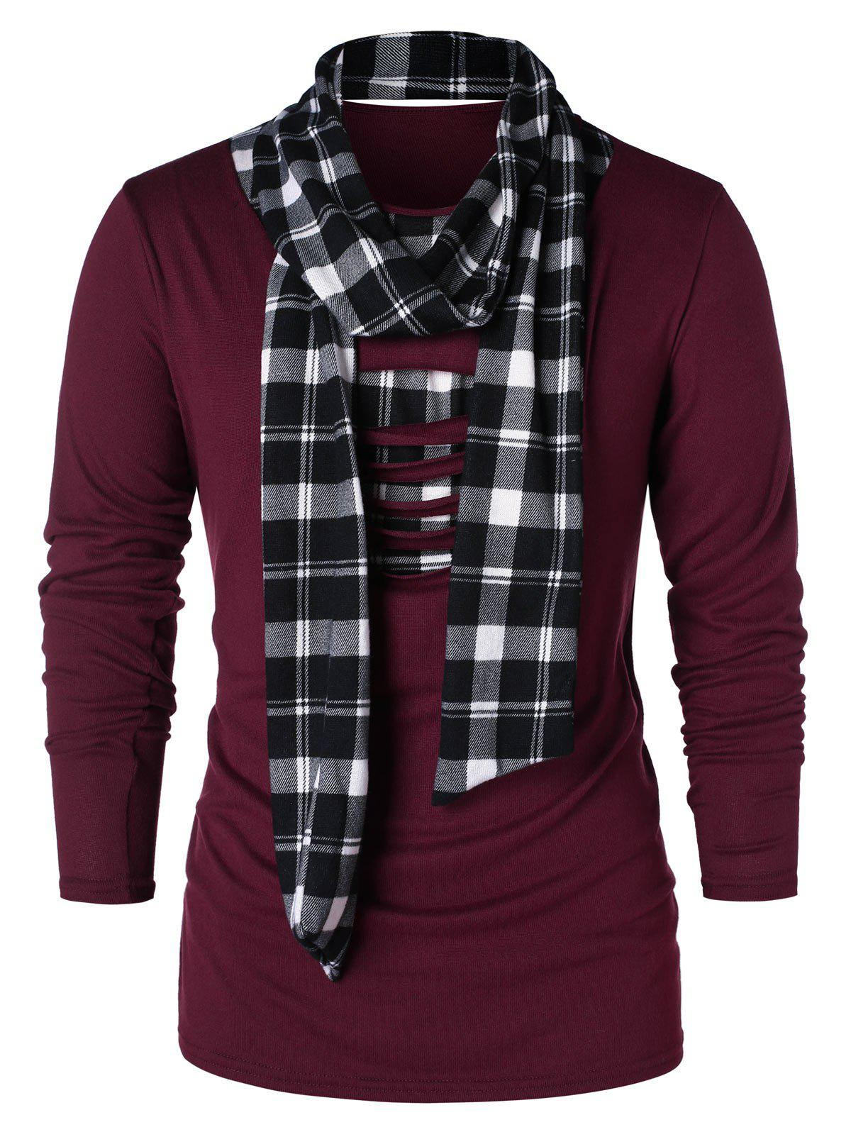 Checked Print Destroyed Scarf Collar T-shirt - FIREBRICK L