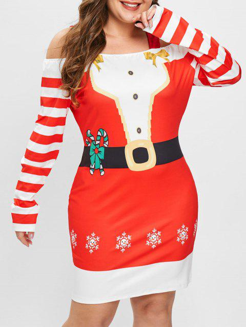 Plus Size Cold Shoulder Christmas Graphic Bodycon Dress - RED 3X