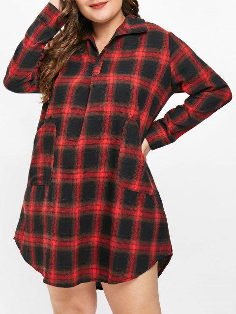 e4288ca2101 LIMITED OFFER  2019 Plus Size V Neck Plaid Shirt Dress In RED 1X ...
