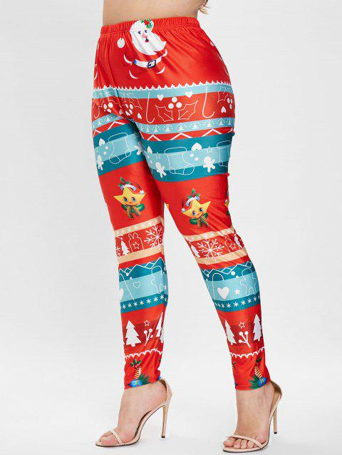 Plus Size Christmas Graphic Leggings - RED 3X