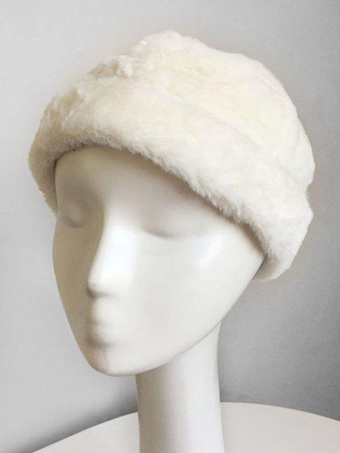 bb5a587604c02 17% OFF  2019 Solid Color Fluffy Beret In WHITE