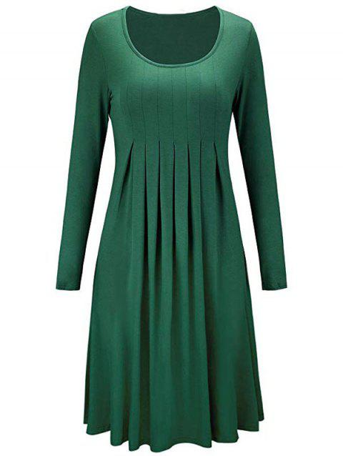 High Waist Long Sleeve Pleated Dress - ARMY GREEN XL