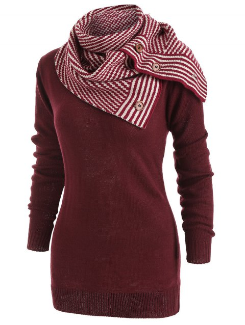 Pullover Sweater with Striped Scarf - RED WINE S