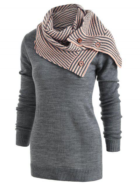 Pullover Sweater with Striped Scarf - GRAY XL