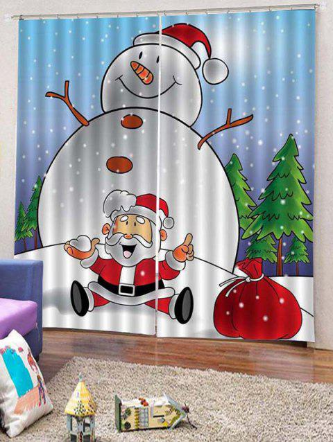 2PCS Funny Snowman Father Christmas Window Curtains - WHITE W30 X L65 INCH X 2PCS