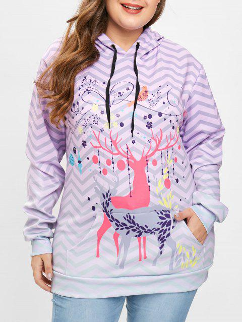 Christmas Deer Print Plus Size Hoodie - PURPLE 1X