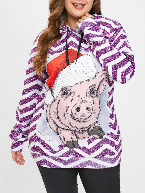 Plus Size Christmas Pig Print Pullover Hoodie - PURPLE 2X
