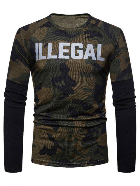 Camouflage Spliced Long Sleeve T-shirt - COFFEE L