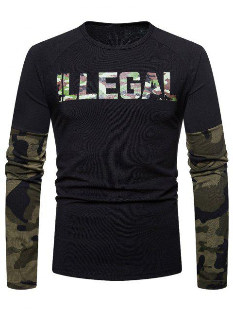 Camouflage Spliced Long Sleeve T-shirt - BLACK S