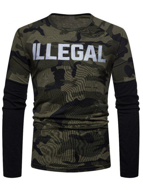 Camouflage Spliced Long Sleeve T-shirt - ARMY GREEN XL