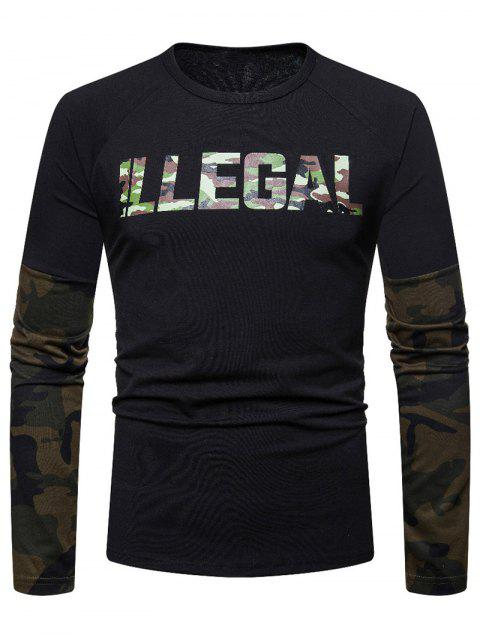 Camouflage Spliced Long Sleeve T-shirt - NIGHT L