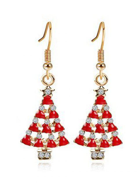 Christmas Tree Faux Crystal Embellished Earrings - GOLD
