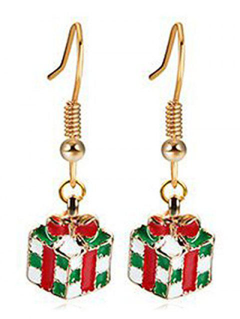 Novelty Christmas Present Shape Earrings - GOLD