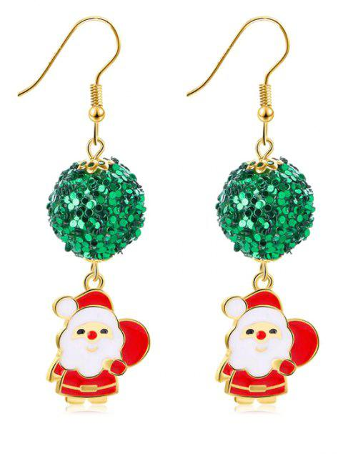 Christmas Sequins Ball Decoration Santa Earrings - GOLD