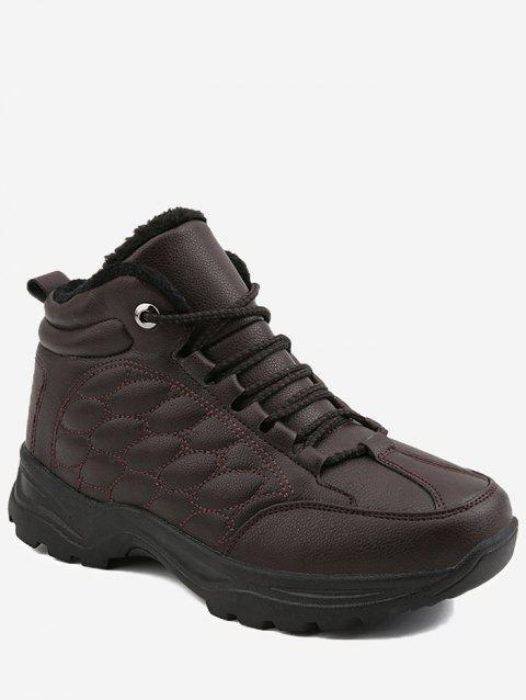 Mesh Pattern Lace Up Ankle Boots - DEEP BROWN EU 40