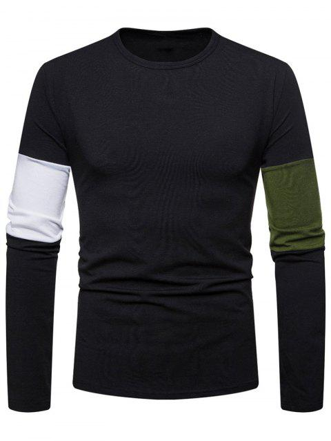 Color Spliced Crew Neck T-shirt - BLACK 2XL