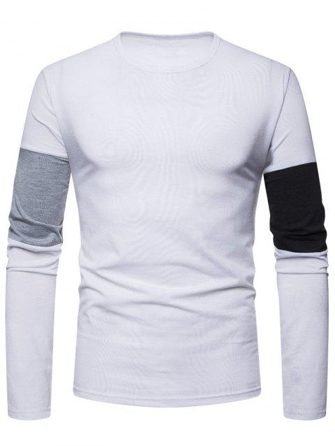 Color Spliced Crew Neck T-shirt - WHITE XL