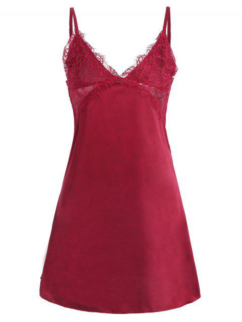 Lace Panel Satin Sexy Dress - RED L
