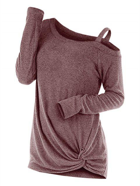 Knotted Cut Out Sweater - COFFEE L